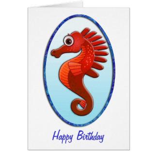 Big Eyed Cartoon Seahorse Birthday Card