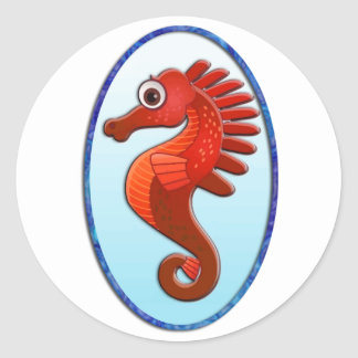 Big Eyed Cartoon Seahorse Classic Round Sticker