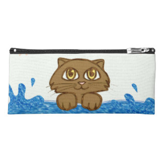 Big Eyed Cat in Water Pencil Case