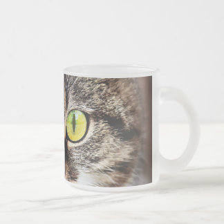 Big eyed cute cat portrait frosted glass coffee mug