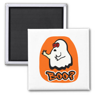 """Big-Eyed Cute Ghost With """"Boo?"""" & Background 2 Inch Square Magnet"""