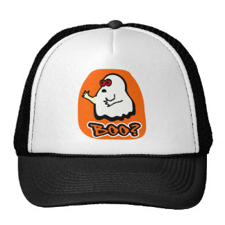 "Big-Eyed Cute Ghost With ""Boo?"" & Background Trucker Hat"