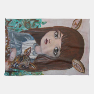 Big eyed deer girl forest girl cute hand towels