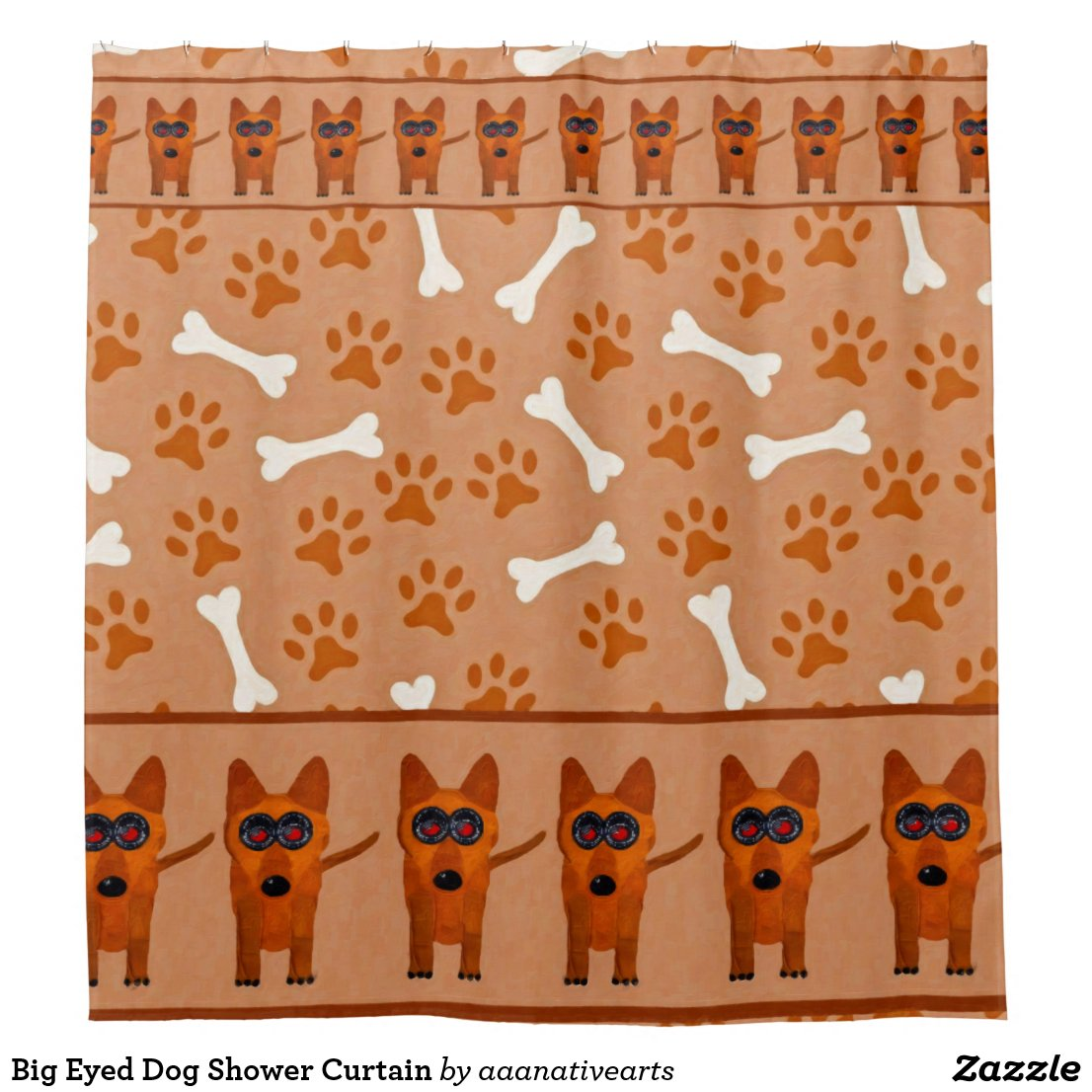 Big Eyed Dog Shower Curtain