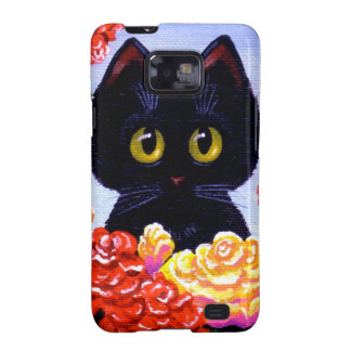 Big Eyed Funny Black Cat Rose Flower Creationarts Samsung Galaxy SII Covers