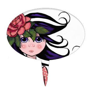 Big-Eyed Girl, Curly Hair, ROSE, Surreal Art Cake Topper