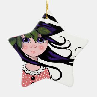 Big-Eyed Girl, Curly Hair, ROSE, Surreal Art Ceramic Ornament