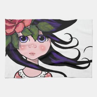 Big-Eyed Girl, Curly Hair, ROSE, Surreal Art Hand Towels