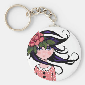 Big-Eyed Girl, Curly Hair, ROSE, Surreal Art Keychain
