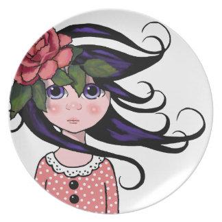 Big-Eyed Girl, Curly Hair, ROSE, Surreal Art Melamine Plate