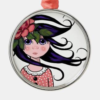 Big-Eyed Girl, Curly Hair, ROSE, Surreal Art Metal Ornament