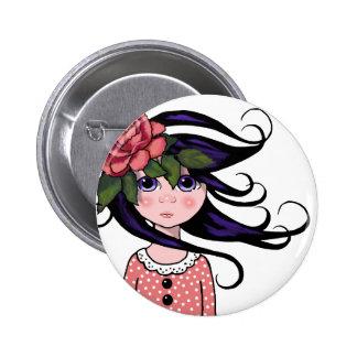 Big-Eyed Girl, Curly Hair, ROSE, Surreal Art Pinback Button