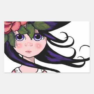 Big-Eyed Girl, Curly Hair, ROSE, Surreal Art Rectangular Sticker