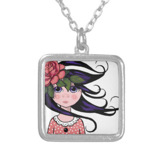 Big-Eyed Girl, Curly Hair, ROSE, Surreal Art Square Pendant Necklace