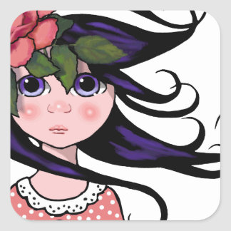 Big-Eyed Girl, Curly Hair, ROSE, Surreal Art Square Sticker