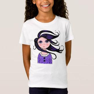 Big-Eyed Girl, Curly Hair, Windy Day, Surreal Art T-Shirt