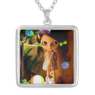 Big Eyed Girl Square Necklace