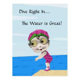 Big Eyed Girl Swimmer PostCard