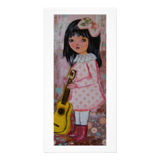 Big eyed girl whimsical, cute harlequin brunette card