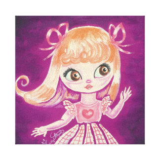 Big Eyed girl with orange hair and brown eyes Canvas Print