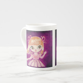Big Eyed girl with orange hair and brown eyes Tea Cup