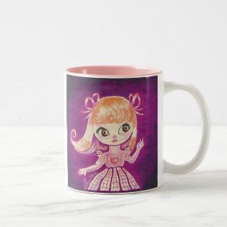 Big Eyed girl with orange hair and brown eyes Two-Tone Coffee Mug
