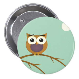 Big Eyed Owl on Branch with Full Moon 3 Inch Round Button