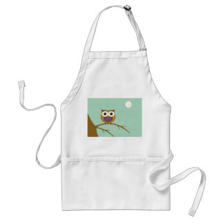 Big Eyed Owl on Branch with Full Moon Adult Apron