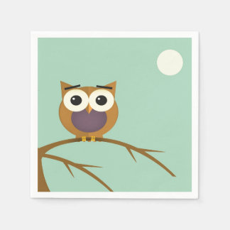 Big Eyed Owl on Branch with Full Moon Napkin