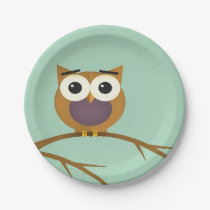Big Eyed Owl on Branch with Full Moon Paper Plate
