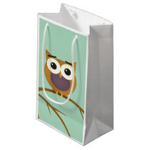 Big Eyed Owl on Branch with Full Moon Small Gift Bag