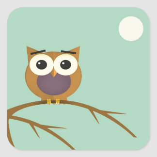 Big Eyed Owl on Branch with Full Moon Square Sticker