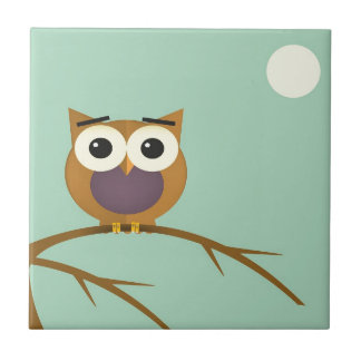 Big Eyed Owl on Branch with Full Moon Tile