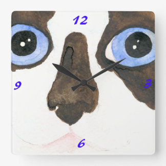 Big Eyed Snowshoe Siamese Clock