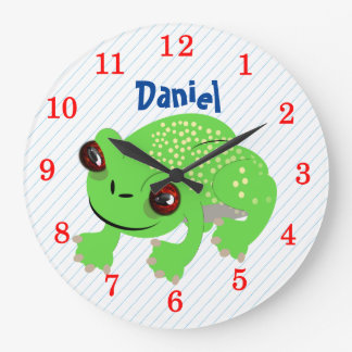 Big Eyed Spotted Green Cartoon Frog Personalized Large Clock