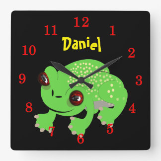 Big Eyed Spotted Green Cartoon Frog Personalized Square Wall Clock