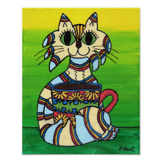 Big Eyed Tabby Cat & Cup of Coffee Folk Art Poster