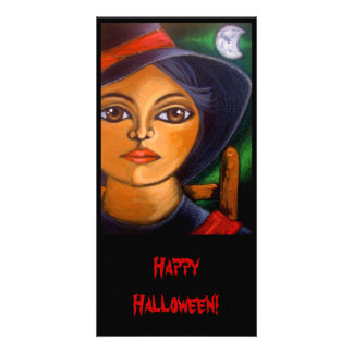 BIG EYED WITCH HALLOWEEN Card