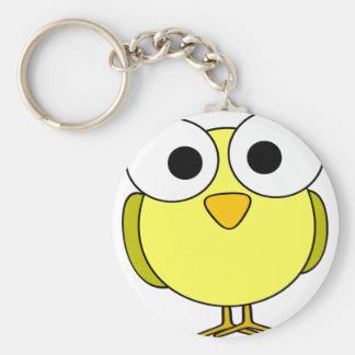 Big Eyed Yellow Bird Basic Round Button Keychain