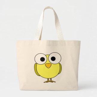 Big Eyed Yellow Bird Large Tote Bag