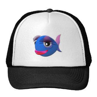Big Eyelashes Cartoon Fish Trucker Hat