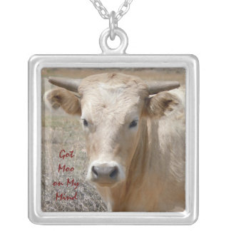 Big Eyes Charolais White Cow Steer with Horns Square Pendant Necklace
