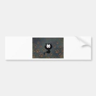 Big Eyes Paw Black Cat Print Bumper Sticker