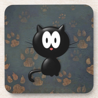 Big Eyes Paw Black Cat Print Drink Coasters