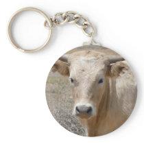 Big Eyes White Charolais Cattle - Western Keychain