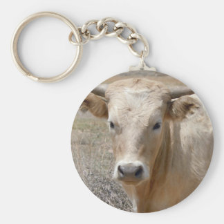 Big Eyes White Charolais Cattle - Western Keychain