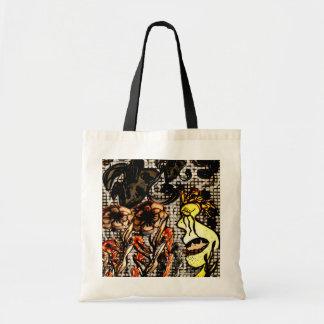 Big face black handle tote budget tote bag