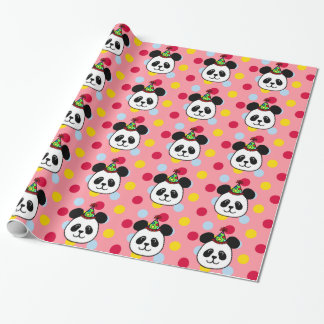Big Face Panda Birthday Wrapping Paper Pink