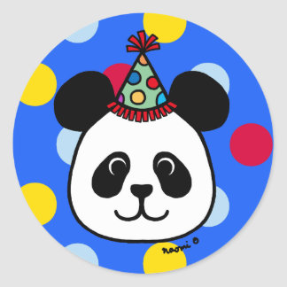 Big Face Panda Cartoon Birthday Sticker Blue