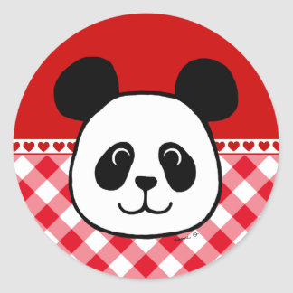 Big Face Panda Cartoon Classic Round Sticker